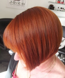 Copper hair colour style
